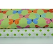 Bawełna 100% kolorowe motylki w kropki, paski, kratkę na zielonym tle
