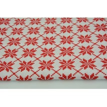 Cotton 100% red snowflakes on a white background