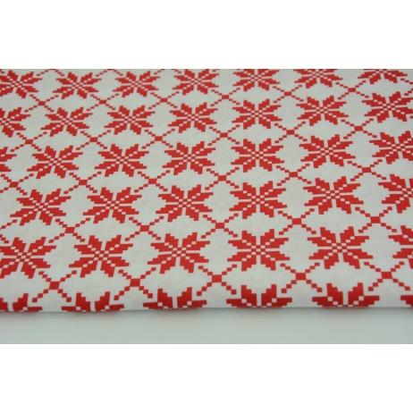 Bawełna 100% czerwone śnieżynki na białym tle