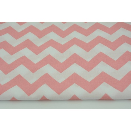 Cotton 100% coral pink chevron zigzag