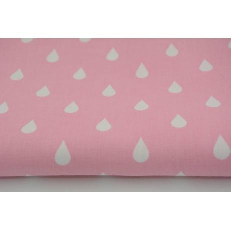Bawełna 100% białe krople, kropelki na różwym tle