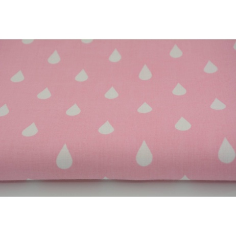 Cotton 100% white rain drops, droplets on a pink background