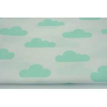Bawełna 100% miętowe chmurki na białym tle