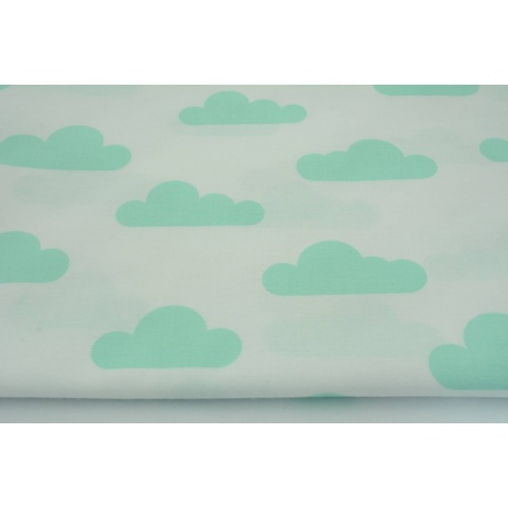 Cotton 100% mint clouds on a white background