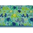 Cotton 100% colorful elephants on a mint background