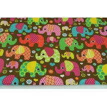 Cotton 100%, colorful elephants on a brown, chocolate background