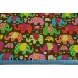 Cotton 100% colorful elephants on mint background