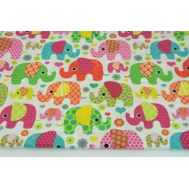 Cotton 100% pink and green elephants on a white background