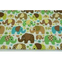 Bawełna 100% brązowe, beżowe słoniki na białym tle