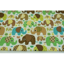 Cotton 100% beige, brown elephants on a white background