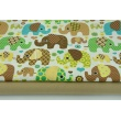 Cotton 100% beige and brown elephants on a white background