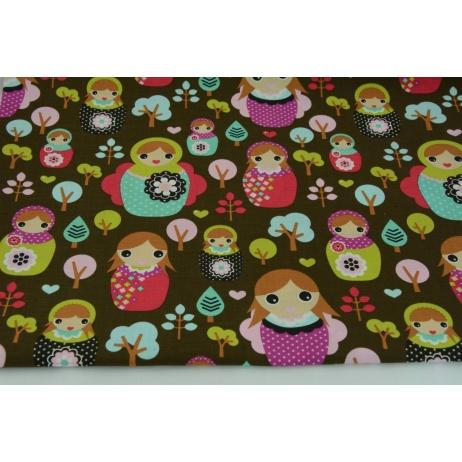 Cotton 100% colorful matrioshkas, matryoshkas, russian dolls on a brown background