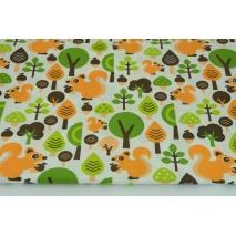 Bawełna 100%, pomarańczowe wiewiórki w lesie