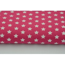Cotton 100%, 1cm white stars on a fuchsia background