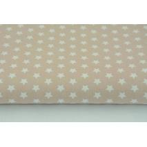 Bawełna gwiazdki białe 1cm na staroróżowym, różowym tle