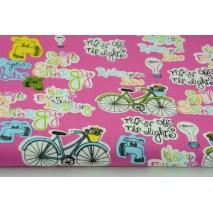 Bawełna 100% rowery, napisy na fuksjowym tle