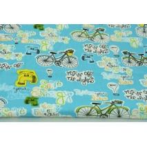 Bawełna 100% rowery, napisy na turkusowym tle