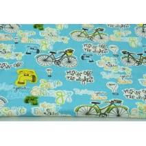 Cotton 100% bikes, inscriptions on a turquoise background