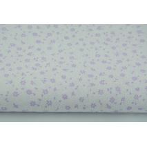 Bawełna 100% fioletowa łączka na białym tle, drobne kwiatki