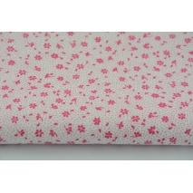 Bawełna 100% amarantowa łączka na białym tle, drobne kwiatki