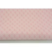 Bawełna 100% mini mozaika, romby na różowym tle