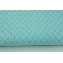 Bawełna 100% mini mozaika, romby na turkusowym tle