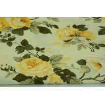 Bawełna 100% żółte róże na kremowym tle