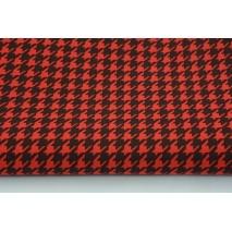 Bawełna 100% czerwona pepitka na czarnym tle M