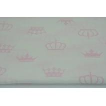 Bawełna 100% różowe korony na białym tle
