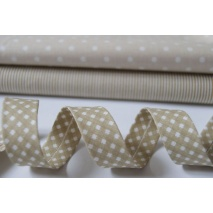 Cotton bias binding beige vichy check 18mm