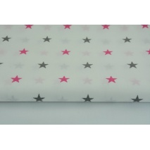Cotton 100% stars gray, amaranth on white background