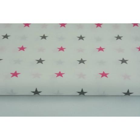 Cotton 100% stars gray, amaranth on white background