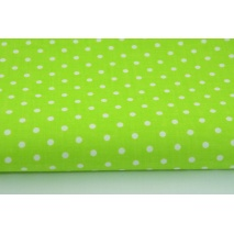 Cotton 100%, dots 4mm on a bright green background