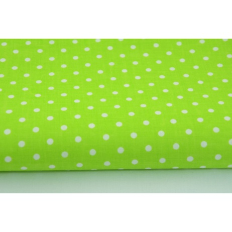 Cotton 100% dots 4mm on a bright green background