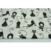 Bawełna 100% czarne fit koty z czerwonymi serduszkami na białym tle