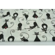 Cotton 100% black and white fit cats with red hearts on a white background