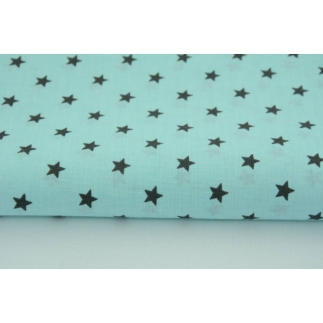 Cotton 100% dark gray stars on a turquoise background