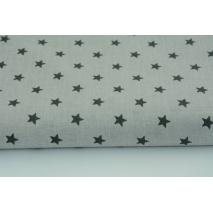 Bawełna 100% ciemnoszare gwiazdki na jasnoszarym tle