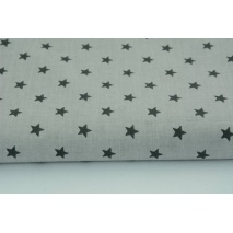 Cotton 100% dark gray stars on a light gray background