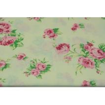Bawełna 100% róże na kremowym tle
