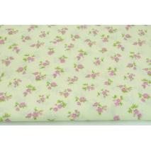 Bawełna 100% różowe mini kwiatki na kremowym tle