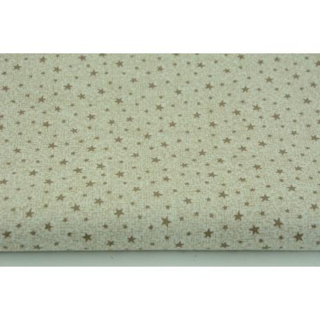 Bawełna 100% beżowe mini gwiazdki na lnianym tle