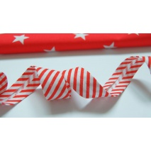 Cotton bias binding red stripes 18mm