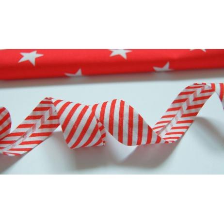 Cotton bias binding red stripes 18mm