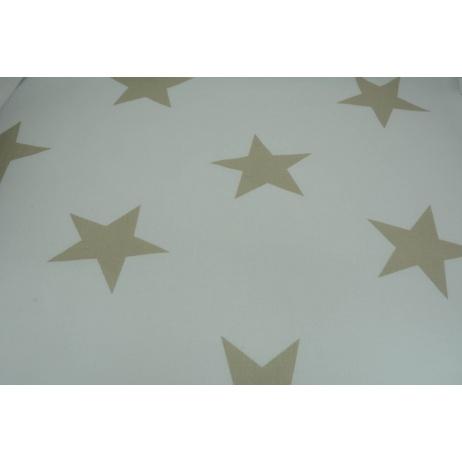 Bawełna 100% biała w duże, beżowe gwiazdy