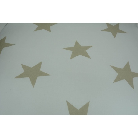 Cotton 100% big beige stars on a white background