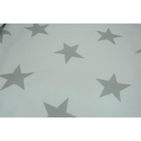 Bawełna 100% biała w duże, szare gwiazdy