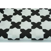 Bawełna 100% biała w czarne iksy