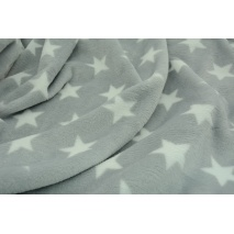 Polar fleece double sided white stars on a light gray background