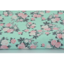 Knitwear 100% cotton roses on a mint background